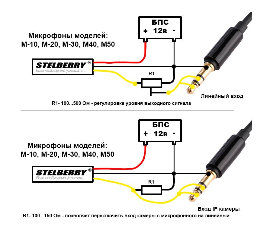 Схема подключения (распайки) микрофона STELBERRY